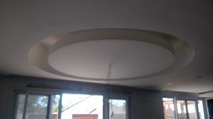 Sanca aberta em curva feita de gesso acartonado com estrutura metálica , falta colocar iluminação